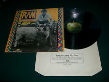 "Paul And Linda McCartney  Ram  UK 12"" Vinyl  LP Record First Press Vinyl EX+/EX+"