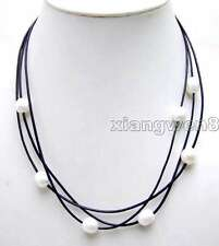 "SALE 10-11mm Rice natural Freshwater White Pearls 3 Strands 19-21"" necklace-5935"