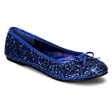 Funtasma STAR-16G Women's Shoes Blue Glitter Ballet Flats Slip On