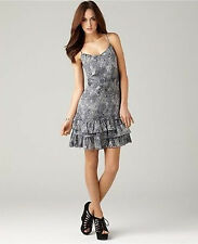 DKNY Glittery Ruffled Spaghetti Strap Dress Silver Sparkles Day to Date NWT Lg