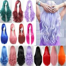 Fashion Cosplay Hair Wig Women Long Straight Curly Costume Full Wig Black Blonde