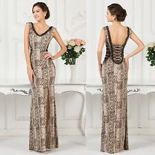 Womens Sexy Strapless Snake Print High Split Long Evening Prom Party Dress Gown