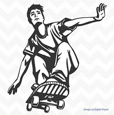 Skateboard stunt action vinyl wall art sticker bedroom playroom decal removeable