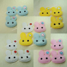 40pcs Pink Blue Yellow White Bunny Padded Furry Rabbit 4cm Applique Easter Craft