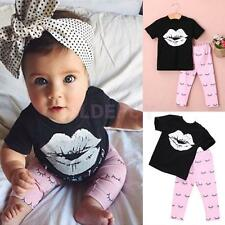 Toddler Baby Girls Cotton Short Sleeve T-shirt Tops and Pink Pants Cute Outfits
