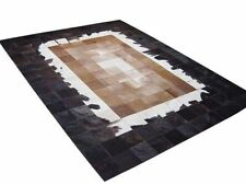 New Large Cowhide Rug Patchwork Cowskin Cow Hide Leather Carpet Black and Brown.