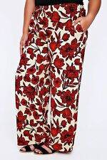 Plus LIVE UNLIMITED Red & Beige Floral Print Wide Leg Trousers 16-28