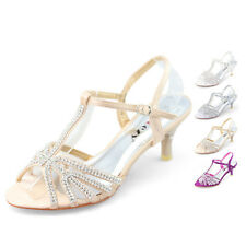 SHOEZY womens low heels kitten wedding rhinestone strappy sandals party shoes