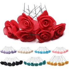 6 Rose Hair Pins Grips Flower Wedding Bridesmaid Accessories All Colours OO55