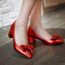 New Womens Shiny Bowknot Pointed Toe Kitten Heels Pumps Shoes Office Slip On