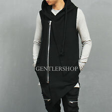 Men's Fashion Hip Hop Zip Up Unbalanced Slant Cut Hem Hooded Sweat Vest, GENTLER