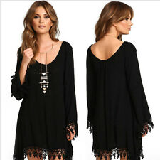 Women Boho Black Lace Hollow Hem Long Sleeve Tops T-shirt Blouse Loose Dress