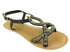 LADIES STRAPPY SUMMER GLADIATOR FLAT SANDALS BLACK SIZE 3-9 NEW