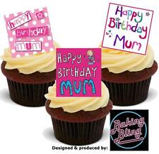 Novelty Happy Birthday Mum Pink Mix A Edible Cake Toppers VANILLA Wafer Mother