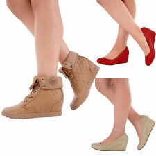 Ladies Women Low Mid Heel Platform Wedge Pumps Suede Court Shoe Size 3 4 5 6 7 8