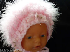 NEW BABY GIRL / DOLL HAND CROCHETED BONNETS WITH SWAN,LACE,RIBBON,PEARL FABULOUS