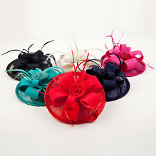 Women Girl Victorian Sinamay Fascinator Derby Feather Hat Wedding Evening party