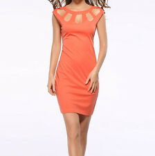 Sexy Mini Cut Out  Women Sexy Skater Dress Back Zip Summer Solid Dresses 44191