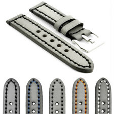 StrapsCo Thick Vintage Watch Band Strap in Gray w Heavy Duty Contrast Stitching