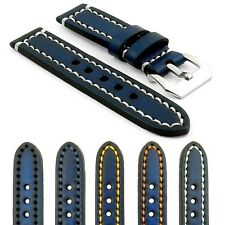 StrapsCo Thick Vintage Watch Band Strap in Blue w/ Heavy Duty Contrast Stitching