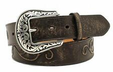 Nocona Western Womens Belt Leather Scroll Roped Conchos Black N3499701