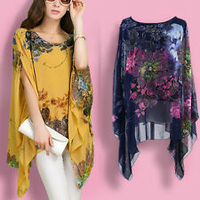 Women Floral Print Batwing Sleeve Blouse Loose Shawl Cape T-shirt Top Beach Wear