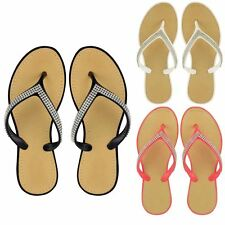 Womens Diamante Flip Flops Ladies Jelly Sandals Summer Beach Toe Post Shoes Size
