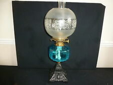 VICTORIAN METAL STAND BLUE GLASS BOWL OIL LAMP WITH SHADE AND FUNNEL