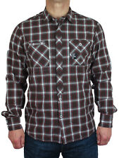 NEW Duck & Cover Mens Size M L Brown Red Check Long Sleeve Shirt
