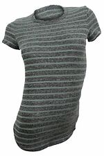 James Perse $105 NWT Charcoal Green Striped Crew Neck Tee Women