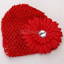 Baby Infant Girl Red Versatile Crochet Beanie Hat Cap + Flower Hair Clip Photos