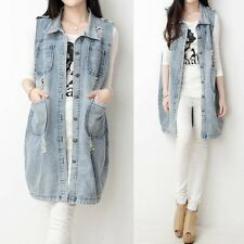 Stylish Frayed Womens Pockets Lapel Long Denim Vest Jean Jacket Trench Outerwear