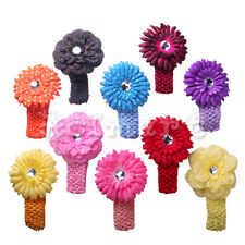 Baby Toddler Boutique Crochet Headband +1 Mix Style Flower Hair Clip Photography