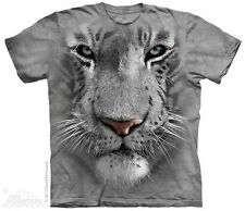 White Tiger Face Mountain T-Shirt - Adult S-5X & Child S-XL