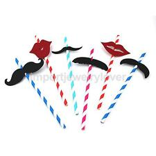 25Pcs Beard Moustache Red Lips Funny Beach Party Cocktail Juice Drinking Straws