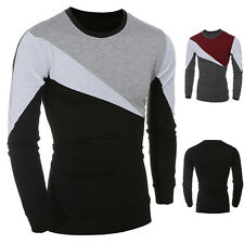 Men Casual Long Sleeve T-shirt Slim Fit Crew-Neck Patchwork Tee Tops Shirts New