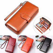 New Women's PU Leather Zipper Clutch Long Wallet Coin Card Holder Purse Handbag