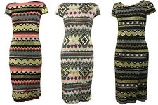 New Womens Ladies Bodycon Tunic Midi Aztec Tribal Gold Foil Print Stretch Dress