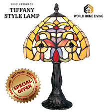 TIFFANY STYLE UNIQUE STAINED GLASS DESK TABLE LAMP - 12.99'' WIDE.