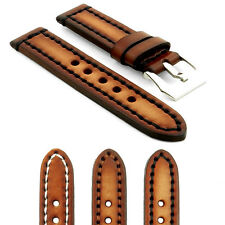 StrapsCo Thick Vintage Band Watch Strap in Brown w Heavy Duty Contrast Stitching