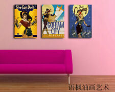 Oil Painting HD Print Wall Decor Art on Canvas,Comics Girl (Unframed) 3PCS