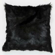 HIMALYAN GOATSKIN FUR  HIDE CUSHION GOAT SKIN GENUINE BLACK 40cm 50cm 60cm