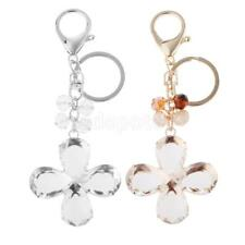 Rhinestone 4 Leaves Clover Shaped Charm Alloy Key Ring Lobster Clasp Keychain