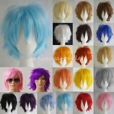 Women Men Short Straight Hair Wig Fluffy Cosplay Cool Anime Party Dress Full Wig
