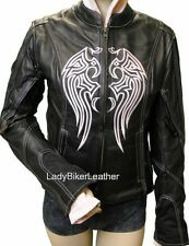 Ladies BIKER Leather MOTORCYCLE Jacket PURPLE/PINK/BLACK/ORANGE Wing S/O HOODIE