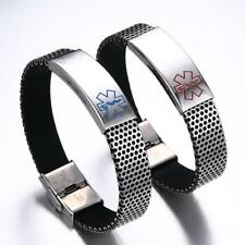 316L Stainless Steel Medical Alert ID Bracelet Hand Link Bangle for Men