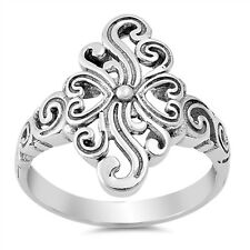 Sterling Silver 925 SCROLL WITH HEART DESIGN SILVER BAND RING 19MM SIZES 5-10