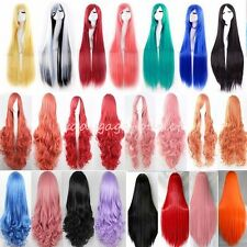 60-100cm Women Cosplay Hair Wig Long Curly Straight Synthetic Full Wigs Costume