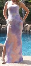 Maya Antonia-2XL SIZE- Tie-Dye Purple-White-Coral Sexy Maxi Dress,Extra Long