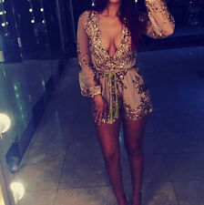 Sexy Women Sequins Deep V-Neck Bandage Bodycon Cocktail Party Jumpsuit Rompers
